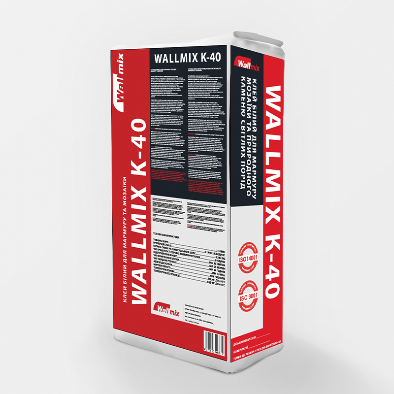 "Клейова суміш еластична біла для мармуру і мозаїки WALLMIX ""К-40"""